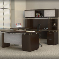 * MONTHLY SPECIAL! Mayline Sterling Executive U-Shaped Desk 72 with two Pedestals Textured Mocha - STL41H3-TDC