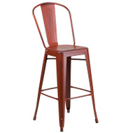 """Flash Furniture Distressed Kelly Red Metal Indoor-Outdoor Bar Height Chair 30""""H - ET-3534-30-RD-GG"""