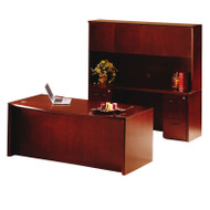 """* MONTHLY SPECIAL! Mayline Corsica Veneer Executive Bow Front Desk with Credenza and Wood Doors Hutch Package 72"""" Sierra Cherry - CT22-CRY"""