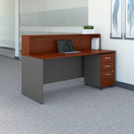 "BBF Bush Series C Reception Desk with 3-Drawer Mobile Pedestal Hansen Cherry 72""W x 30""D - SRC096HCSU"