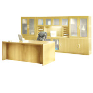 * MONTHLY SPECIAL! Mayline Aberdeen Executive Desk & Storage Cabinet Package Maple - AT35-LMA
