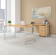 "BBF Bush 400 Series U-Shaped Table Desk 60"" x 30"" w 3 Drawer Mobile Pedestal, Natural Maple -  400S161AC"