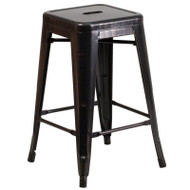 "Flash Furniture Black-Antique Gold Metal Indoor-Outdoor Counter Height Stool 24""H - CH-31320-24-BQ-GG"