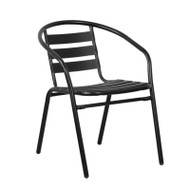 Flash Furniture Black Metal Restaurant / Patio Stack Chair with Aluminum Slats - TLH-017C-BK-GG
