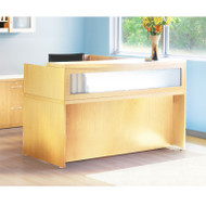 Mayline Aberdeen Reception Desk L-Shaped without Pedestal File Drawers Maple - ABEPackage1-LMA