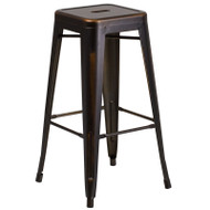 """Flash Furniture Distressed Copper Metal Indoor-Outdoor Barstool 30""""H - ET-BT3503-30-COP-GG"""