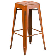 "Flash Furniture Distressed Orange Metal Indoor-Outdoor Barstool 30""H - ET-BT3503-30-OR-GG"