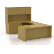 """* MONTHLY SPECIAL! Mayline Aberdeen Executive U-Shaped Desk 72"""" w/Wood Door Hutch Maple - AT2-LMA"""