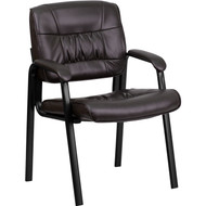 Flash Furniture Brown Leather Guest/Reception Chair with Black Frame Finish - BT-1404-BN-GG