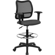 Flash Furniture Mid-Back Mesh Drafting Stool with Gray Fabric Seat and Arms - WL-A277-GY-AD-GG