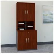 """BBF Bush Series C Package Storage Cabinet with Hutch 30"""" Hansen Cherry - SRC102HC"""