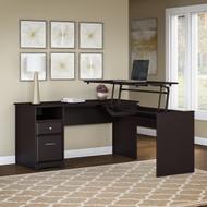 "Bush Cabot Collection L-Shaped Sit to Stand Desk 60""W 3 Position Espresso Oak - CAB043EPO"