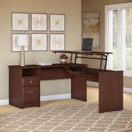 "Bush Cabot Collection L-Shaped Sit to Stand Desk 60""W 3 Position Harvest Cherry - CAB043HVC"
