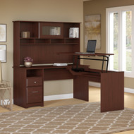 """Bush Cabot Collection L-Shaped Sit to Stand Desk with Hutch 60""""W 3 Position Harvest Cherry - CAB045HVC"""