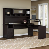"Bush Cabot Collection L-Shaped Sit to Stand Desk with Hutch 72""W 3 Position Espresso Oak - CAB052EPO"