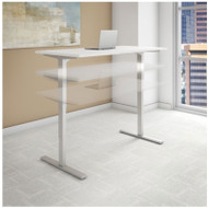 Bush Move 80 Series 48W x 24D Height Adjustable Standing Desk in White with Black Base - HAT4824WHBK