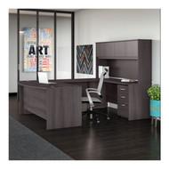 "Bush BBF Studio C Bow Front U-Shaped Desk with Hutch 72"" Storm Gray - STC003SG"