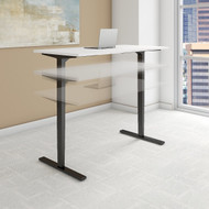Bush Move 80 Series 72W x 30D Height Adjustable Standing Desk in White with Black Base - HAT7230WHBK