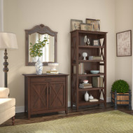 Bush Key West Laptop Storage Credenza with 5 Shelf Bookcase - KWS012BC