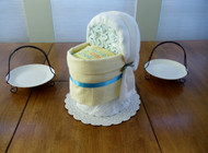 "Unisex Yellow & Blue ""I'm Grandma's wish come true"" Bassinet Diaper Cake"