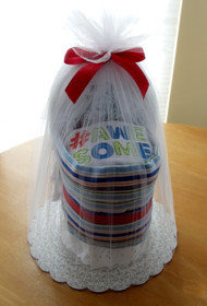 "Boy's ""#Awesome"" Striped Bassinet Diaper Cake"