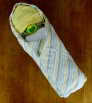 Eco Unisex Yellow Gray and White Striped Swaddle Diaper Baby
