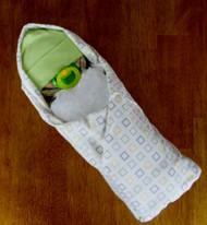 Eco Unisex Green and White Squares Swaddle Diaper Baby