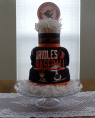 New Eco Black/White/Orange Unisex Baltimore Orioles Baby Fan Diaper Cake