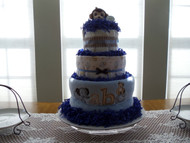 Boy's Blue/Brown/White 3 Tier ABC Elephant Diaper Cake