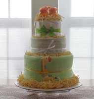 Girl's 3 tier Lime Green/White/Orange Giraffe Diaper Cake