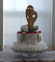 Red/Cream/Green Merry Christmas Kitchen Towel Cake