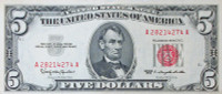 Authentic United States $5 Lincoln Red Seal Legal Tender