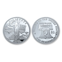 "2017 ""Peace Through Strength"" Silver Clad Liberty $1 Coin"