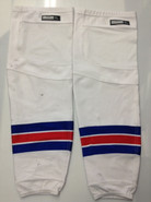REEBOK EDGE CUSTOM HOCKEY SOCKS NEW YORK RANGERS WHITE PRO STOCK NHL XL USED