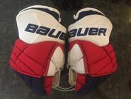 """Bauer X60 Pro Stock Custom Hockey Gloves 14"""" NY Rangers Powe used"""