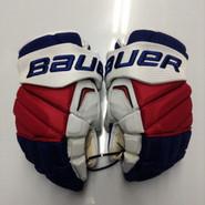 """Bauer APX2 Pro Stock Custom Hockey Gloves 15"""" NY Rangers used #44"""