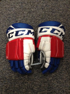 "CCM U+ CL Pro Stock Custom Hockey Gloves 14"" Hartford Wolfpack AHL used MEGNA"