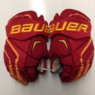 "Bauer APX2 Pro Stock Custom Hockey Gloves 14"" Ferris State Bulldogs NCAA Used #17"