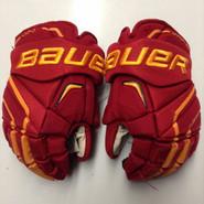 "Bauer APX2 Pro Stock Custom Hockey Gloves 14"" Ferris State Bulldogs NCAA Used #19"