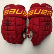 "Bauer Nexus 1N Pro Stock Custom Hockey Gloves 14"" Ferris State Bulldogs used #28"