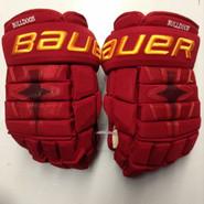 "Bauer Nexus 1N Pro Stock Custom Hockey Gloves 14"" Ferris State Bulldogs used #11"