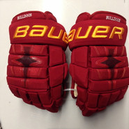"Bauer Nexus 1N Pro Stock Custom Hockey Gloves 14"" Ferris State Bulldogs used"