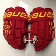 "Bauer Nexus 1000 Pro Stock Custom Hockey Gloves 14"" Ferris State Bulldogs used #24"