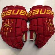 "Bauer Nexus 1000 Pro Stock Custom Hockey Gloves 14"" Ferris State Bulldogs used #22"