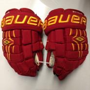 "Bauer Nexus 1000 Pro Stock Custom Hockey Gloves 13"" Ferris State Bulldogs used"