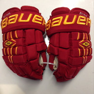 "Bauer Nexus 1000 Pro Stock Custom Hockey Gloves 14"" Ferris State Bulldogs used #7"