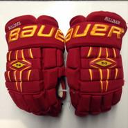"Bauer Nexus 1000 Pro Stock Custom Hockey Gloves 15"" Ferris State Bulldogs used"