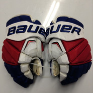 "Bauer APX2 Pro Stock Custom Hockey Gloves 14"" NY Rangers used FAST NHL"