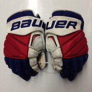 "Bauer APX2 Pro Stock Custom Hockey Gloves 14"" NY Rangers used FAST NHL (3)"