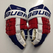 "Bauer Nexus 1000 Pro Stock Custom Hockey Gloves 15"" NY Rangers Stepan used (3)"